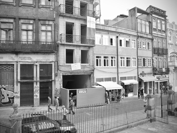 BeW Oporto, Portugal Apartment Architecture Balcony Black And White Building Building Exterior Built Structure City Communication Day Nature No People Old Outdoors Railing Residential District Road Sky Street Transportation Window