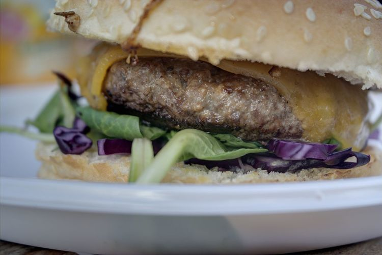 Extreme close up of burger in plate