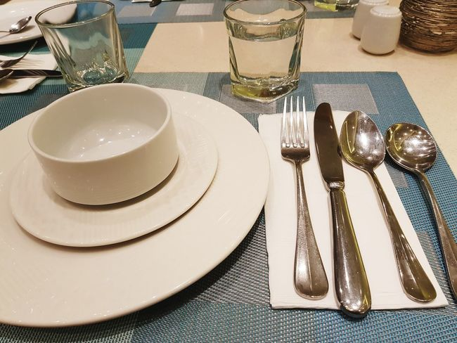 Glass Napkin Place Mat Table Empty Setting Fork Table Place Setting Eating Utensil Plate Silverware  Tablecloth Indoors  Neat No People Dining Table Table Knife Arrangement