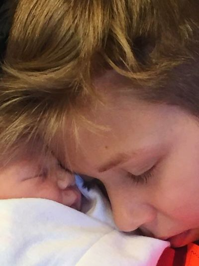 Two babies sleeping. Forever Love Love ♥ Family Family❤ Nap Tiered Sleeping Sibling Love Siblings Just Born Visiting New Baby! Childhood Childhood Close-up One Person Real People Day