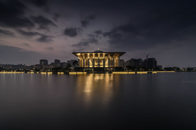 Sultan Mizan Zainal Abidin Mosque also known as Iron Mosque during sunrise. Architecture Beauty In Nature Built Structure City City Life Cloud Cloud - Sky Dark Illuminated Light Nature Night No People Outdoors Reflection Scenics Sky Tranquil Scene Tranquility Water Waterfront