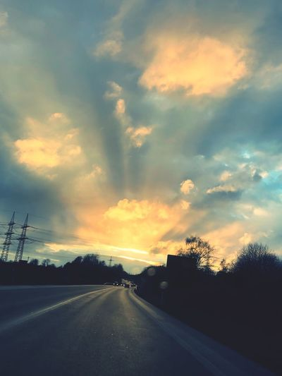 Street Cloud - Sky Sky Road Transportation Sunset Direction The Way Forward Nature Sign Beauty In Nature Outdoors No People