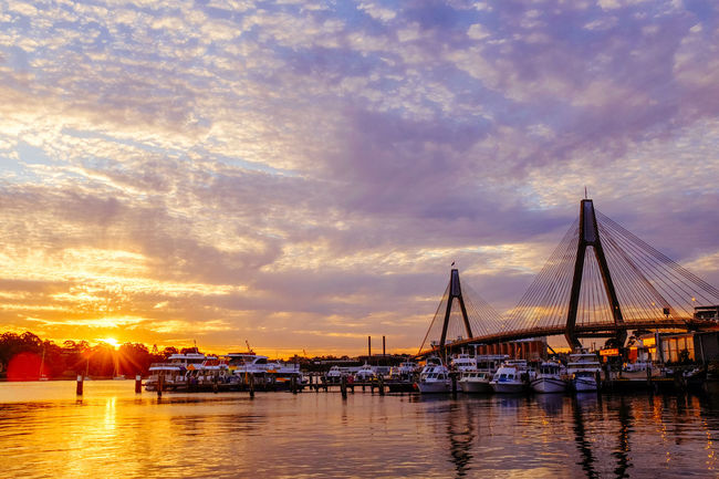 ANZAC Bridge Beauty In Nature Cloud - Sky Commercial Dock Day Fujifilm Harbor Mast Nature No People Outdoors Reflection Sea Sky Sunset Sydney, Australia Transportation Travel Destinations Water Waterfront X100S