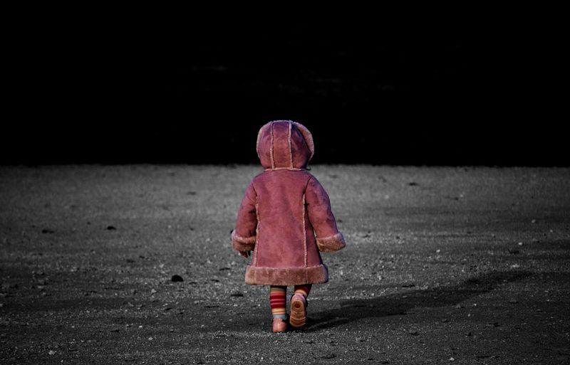 Walking on the moon Full Length Rear View Red Child Outdoors One Person Childhood Pink Color One Girl Only Horizontal Night