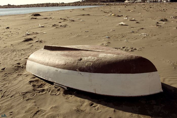 Abandoned Albania Beach Boat Day Moored Nature Nautical Vessel No People Outdoors Rowboat Sand Sea Shengjin Sky Tranquility Water