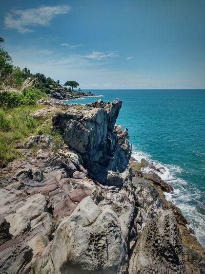Sea Beach Nature Rock Tranquility Horizon Over Water Sky Cliff Water Non-urban Scene Calm Blue First Eyeem Photo