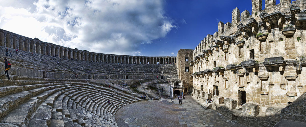 Ancient Ancient Civilization Architecture Aspendos  Aspendos Ancient Theatre Building Exterior Built Structure Day Historical Historical Architecture History History Place No People Outdoors Sky Theater Tourism Travel Travel Destinations Wall