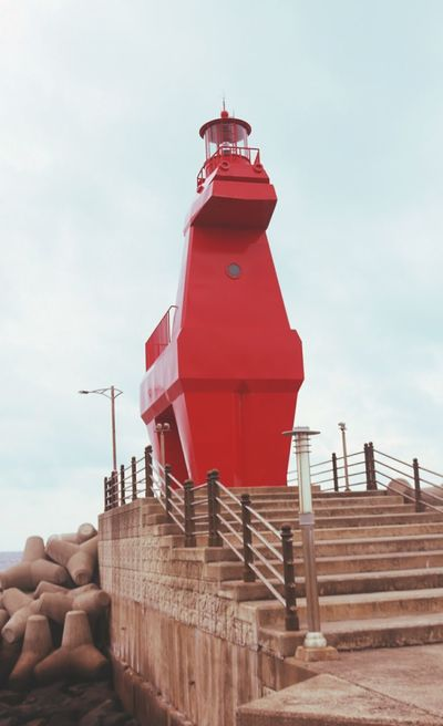 #horse #lighthouse #red #sky Architecture Breakwater Cloud - Sky No People