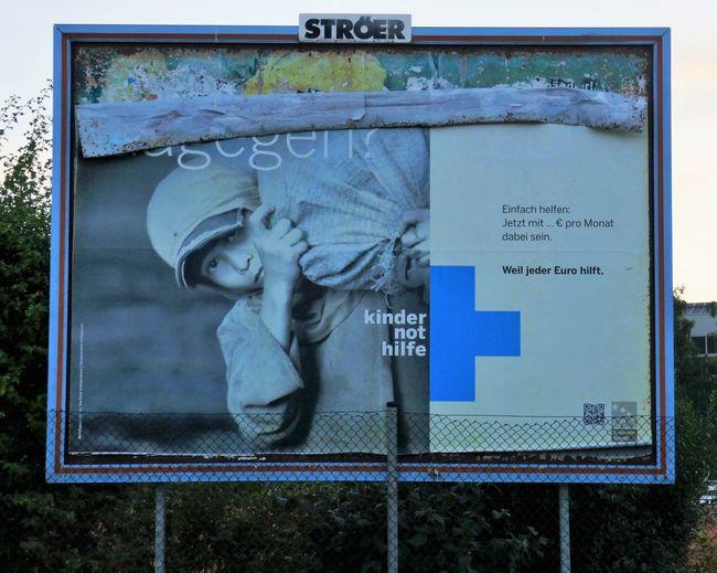 Kindernothilfe Advertisement Posters Blue Children Information Sign Kindernothilfe Outdoors Poster