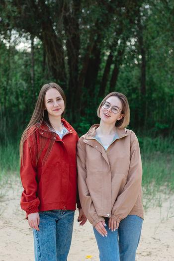 Portrait of a two young caucasian women. women friendship.