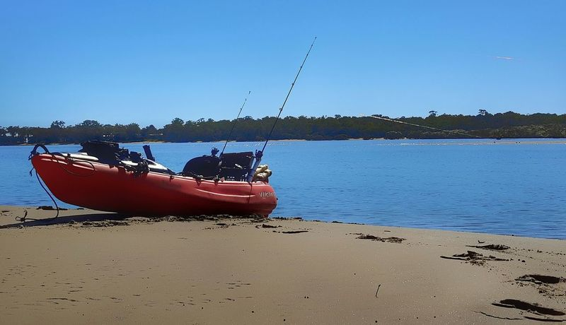 Kayak Fishing Eli Creek Blue Beach Water Sky Outdoors Nautical Vessel Tranquility Sea No People Second Acts