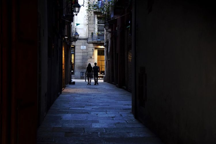 Barcelona El Born Architecture Walking Building Exterior Built Structure Rear View Men Street The Way Forward Silhouette Silhoutte Photography Urban Exploration City Life People Like You And Me Silhouettes Of People Narrow Alley Street Life Streets City Life Footpath