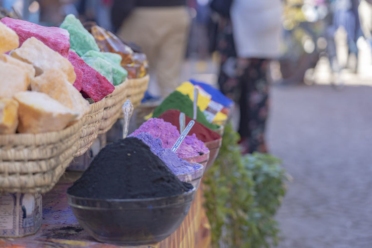 Food And Drink Food Focus On Foreground Basket Container For Sale Indulgence Retail  Multi Colored Variation Market Dye Dyes Marketplace Market Stall Daytime Outdoor Market Selective Focus Outdoors Temptation Day Close-up Colorful Arrangement Marrakech