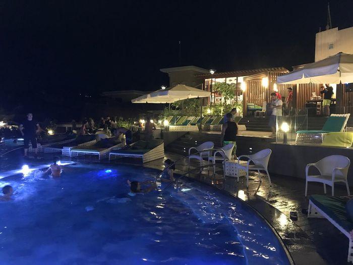 Boracay Night Illuminated Nightlife Restaurant Swimming Pool Enjoyment Vacations Water resort swimming pool party