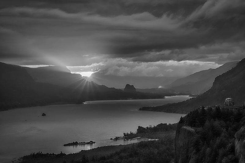 The sun also rises in black and white 😊 monochrome photography Black & White Black And White Get Up Early Columbia River Gorge Sunrise Sky Mountain Cloud - Sky Water Beauty In Nature Scenics - Nature Tranquil Scene Nature Tranquility Mountain Range No People Day Outdoors