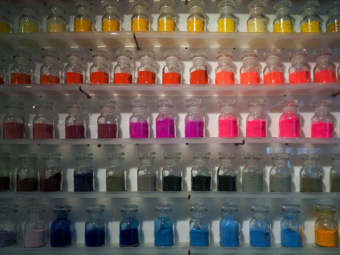 Full frame shot of bottles in shelf at store