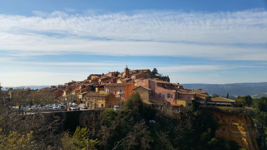 Spring at Roussillon, France. Architecture Building Exterior Cloud - Sky France Town Mountain Sky Top Hill Town Top Town