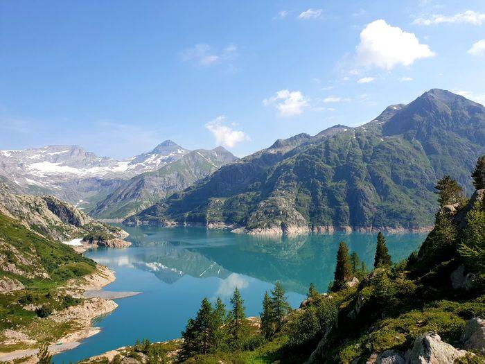Lac d'Émosson Nature Lake Water Alps Switzerland Mountain Forest Pine Tree Wilderness Alpine Sight Mountain Peak Mountain Ridge