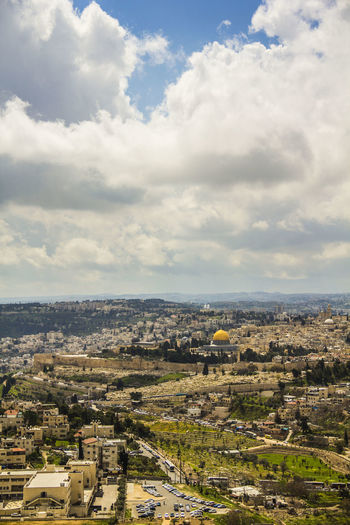 Aerial View ALAQSA Alaqsamosque Architecture City Cityscape Cloud - Sky Day High Angle View Jerusalem No People Old City Outdoors Sky The Dome Of The Rock Travel Destinations Urban Skyline