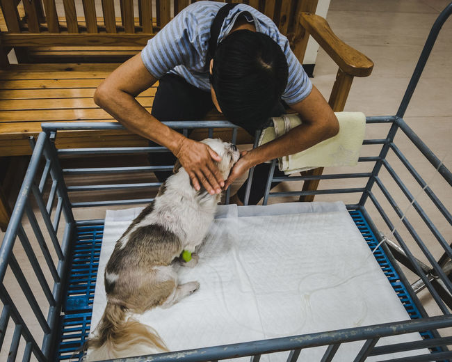 High angle view of man playing with dog in hospital