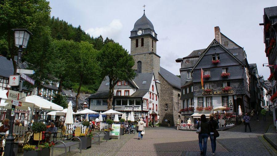 People walking through town