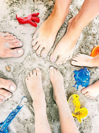 family feet at the beach Family Beach Sand Toys Happy Summer Summertime Vacation Feet Sunny Day Sunny Day Playing Human Body Part Sand Human Leg Beach Barefoot Low Section Day Outdoors People