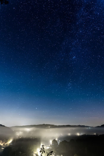 Ardennes Ardennesbelges Astronomy Astrophotography Beauty In Nature Blue Fog Foggy Night Herbeumont Landscape Nature Plane Sky Space Star Star - Space Stars Village
