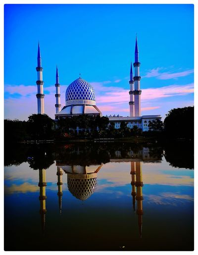 Reflection Shah Alam Mosque Masjid Blue Sky Minaret Reflection Water Industry Business Finance And Industry Reflection Sky Architecture