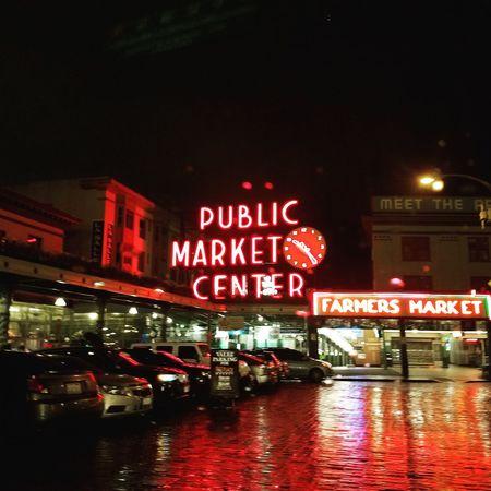 Night Illuminated Red Nightlife Reflection Neon City Seattle, Washington Pike Place Market Rainy Days Wet