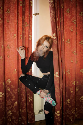 Curtains Holidays Linas Was Here Red Curtains Smoke Weekend Black Clothes Cigarette  Colorful Socks Hostel Hotel Model Red Hair Relax