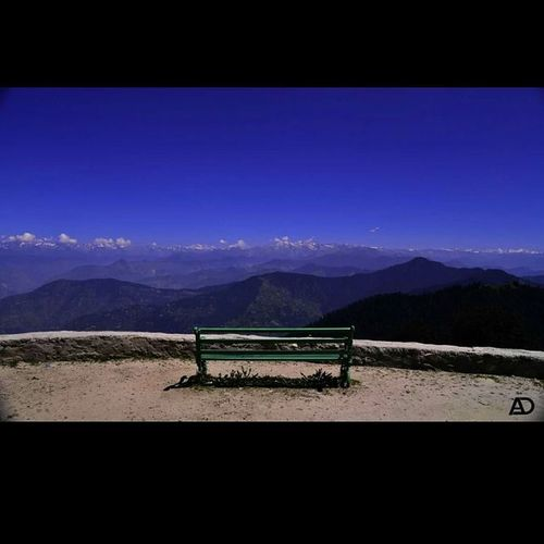 Sit back relax and enjoy THE VIEW Hatu Hatupeak Narkanda Shimla Kinnerkailash Shimla Bench Valleyview Hatutemple Nikon D610 Clouds Mountain Mountainskyscraper Sky 3400mtrs Highaltitude Ankitdogra