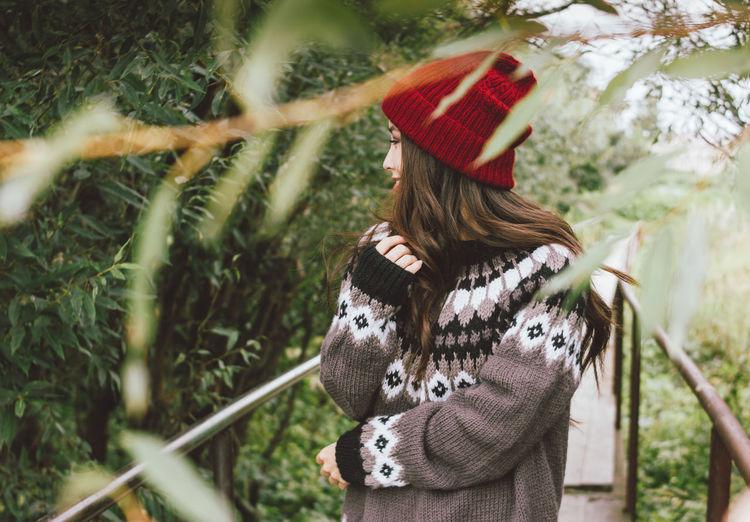 Woman wearing knit hat