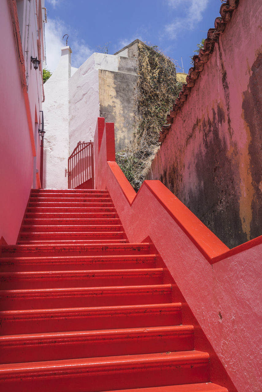 steps, staircase, steps and staircases, architecture, built structure, stairs, railing, red, building exterior, day, no people, outdoors, sky, tree