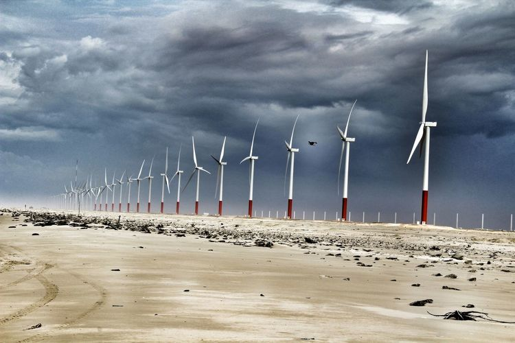 Energy Efficient Clean Energy Climatechangeisreal Climate Change Wether Is Rain Sand Beach Cloud - Sky No People Sea Day Outdoors Wind Power Landscape Sky Technology Nature Wind Turbine Perspectives On Nature