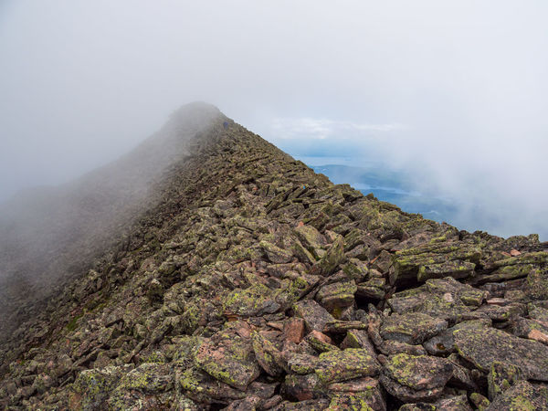 A narrow mountain ridge shrouded in fog, part of the Knife's Edge trail on Katahdin in Baxter State Park, Maine. Mountain Beauty In Nature Scenics - Nature Fog Rock Environment No People Mountain Peak Mountain Ridge Ridge Cloud - Sky Hiking Katahdin Maine Baxter State Park Knife's Edge Trail Footpath Extreme Terrain Dangerous Scenics Adventure Rock - Object Path Travel Destinations