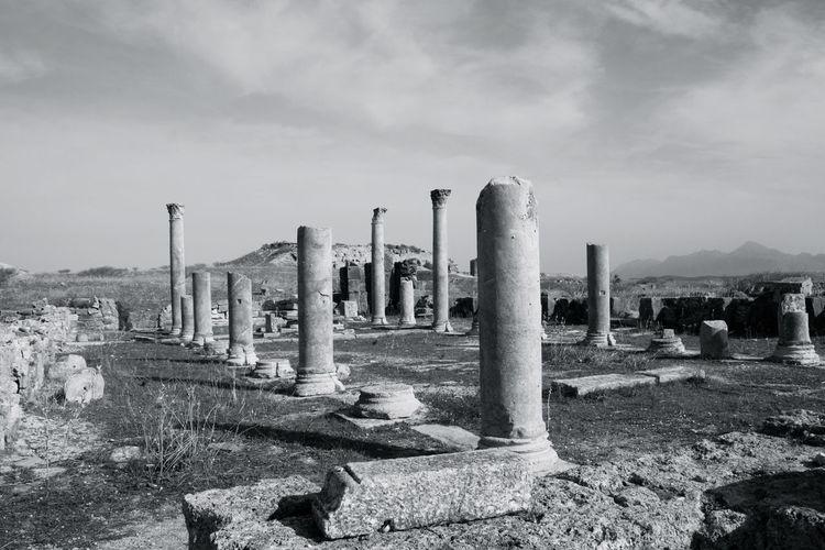 Ancient Archelogy Columns History Monochrome Old Ruin Stone Material The Past Thuburbo Majus Travel Destinations Tunisia Tunisia <3