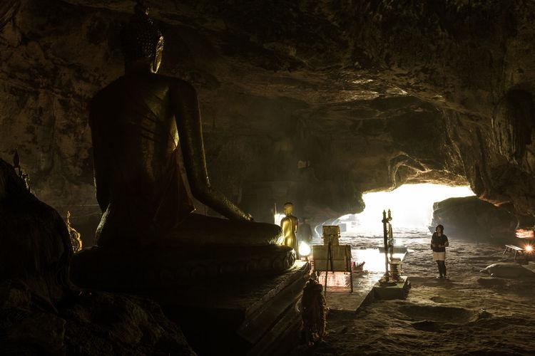 cave Kanchanaburi Buddha Statue Thailand Travel Destinations Cave Sanctum Faith Peace Religion Kanchanaburi