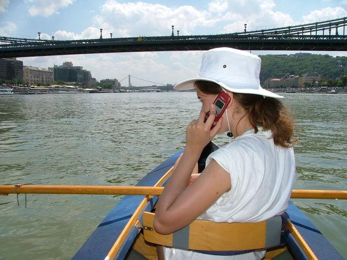 Boat Bridge Budapest, Hungary Casual Clothing City Cloud Cloud - Sky Danube Danube River Danube Tour Handy Kayak Kayaking Leisure Activity Lifestyles Mobiltelefon Nature Outdoors Rippled River Sky V.I.P Very Important Person Water Natural Light Portrait