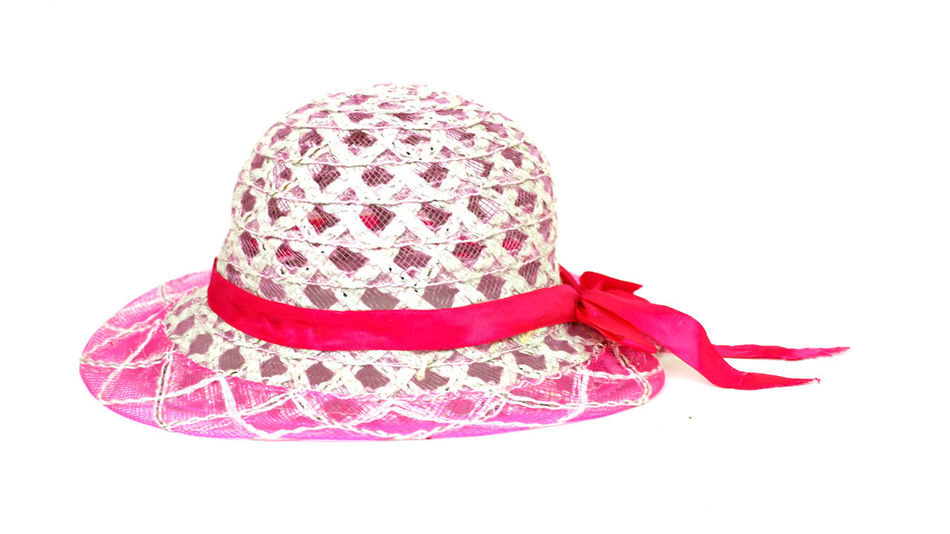 baby cap on white background Cap Close-up Cristmas No People Pink Color Red Ribon Studio Shot White Background