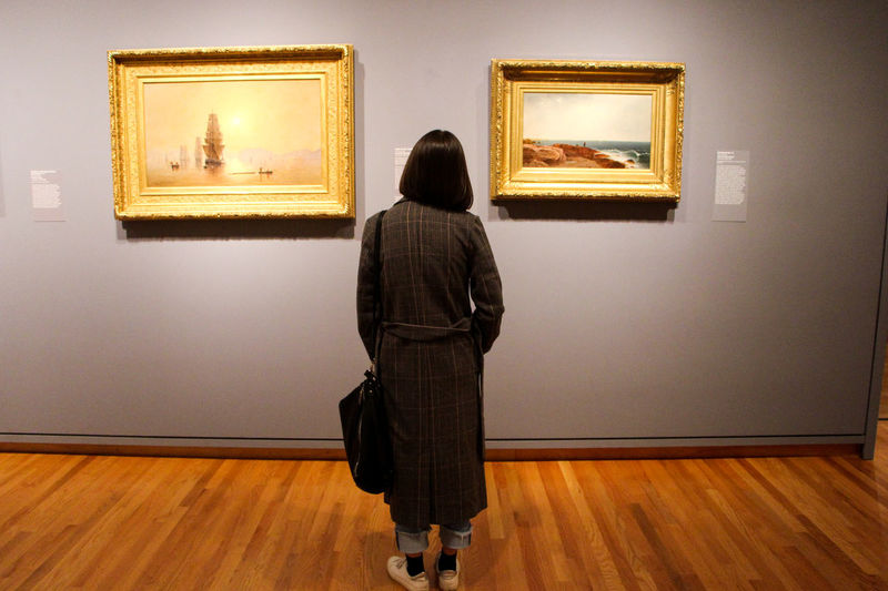 Rear View Indoors  Museum One Person Art Museum Frame Wall - Building Feature Picture Frame Flooring Women Exhibition Lifestyles Real People Wood Hardwood Floor Full Length Adult Standing Leisure Activity Paintings Hairstyle Looking At View