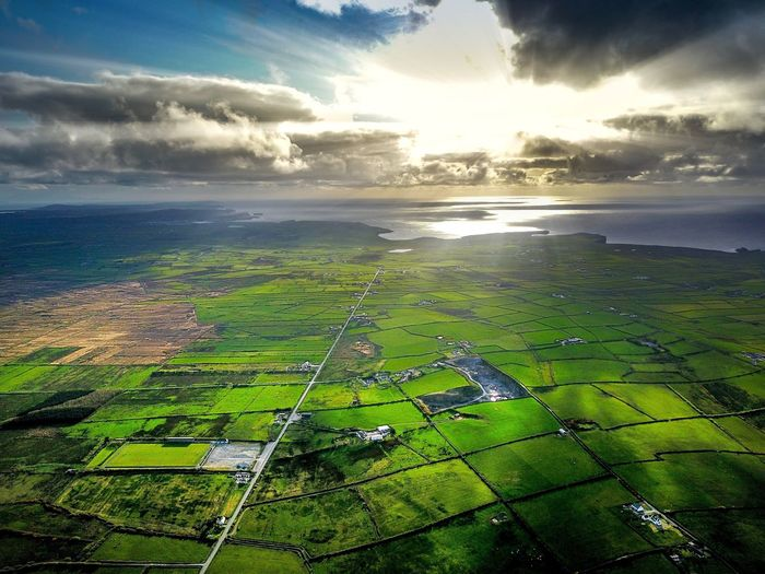 Agriculture Beauty In Nature Tranquil Scene Rural Scene Scenics Farm Field Nature Cloud - Sky Tranquility Landscape Cultivated Land Patchwork Landscape Sky Idyllic Green Color No People Aerial View Outdoors Growth Kilrush Drone  Dji Doonbeg Kilkee