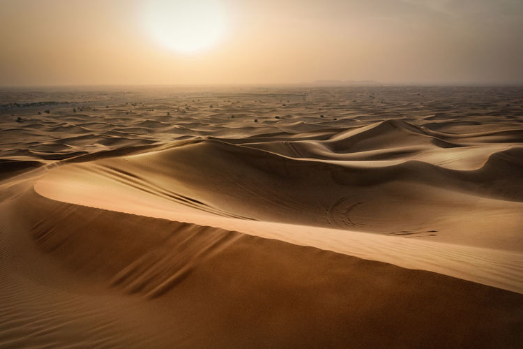 A sunset taken in the desert close to Dubai Desert Dubai Horizon Over Land Middle East Sand Dune Shadows & Lights Sunset Tourism Traveling United Arab Emirates