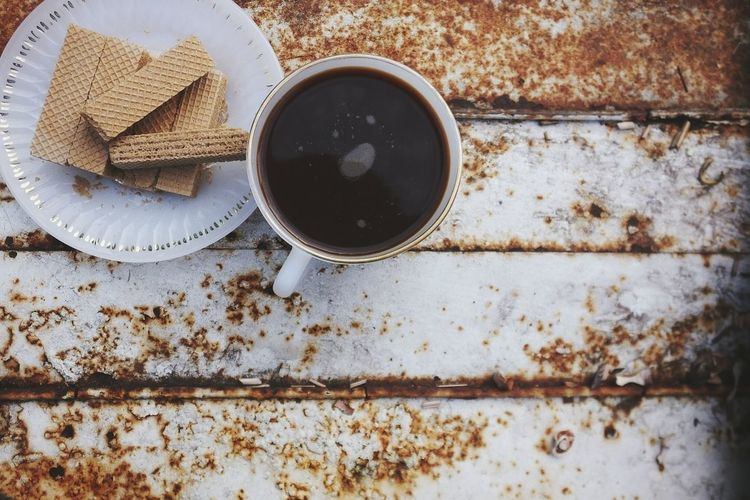 Coffee Coffee Time Coffee Cup Wafersticks Waffle Copy Space Metal Food And Drink High Angle View No People Drink Directly Above Table Indoors  Food Day Close-up Freshness