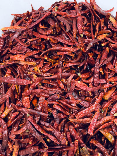 Close-up of dried chili peppers