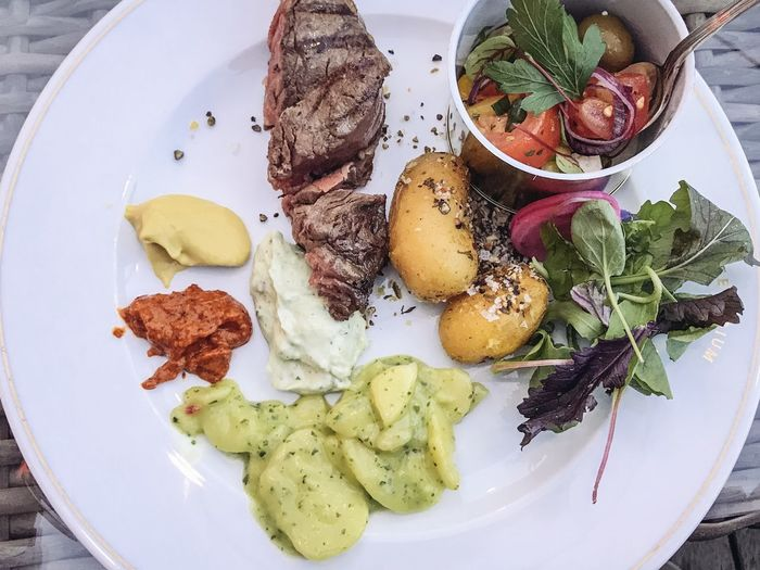 Food And Drink Plate Food Freshness Ready-to-eat Vegetable Serving Size Food And Drink Plate Food Freshness Ready-to-eat Vegetable Serving Size Healthy Eating Meat Still Life High Angle View Meal No People Wellbeing Indoors  Potato Table Close-up Prepared Potato Salad