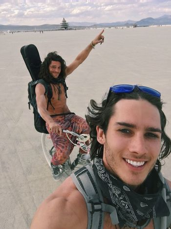 Just a couple of nomads exploring the desert in search of banana pancakes, disco parties and Arabian nights Two People Young Women Young Adult Young Men Men Smiling Women Adults Only People Portrait Real People Beauty Adult Togetherness Outdoors Sky Friendship Human Body Part Cheerful Day Burningman Desert America California