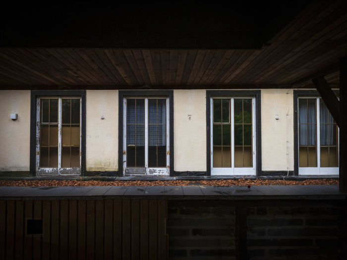 Exterior of abandoned building, terrace of goebbels country house