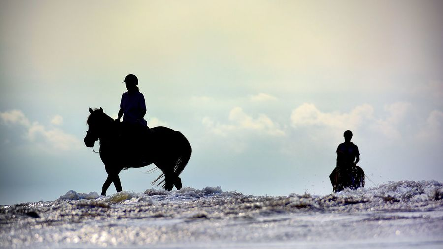 People riding horses at beach against sky
