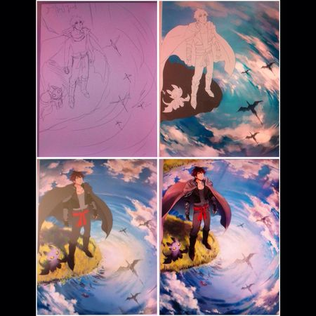 Process of an illustration made for Pixiv Fantasia Fallen Kings *w* sorry for the blurry pics >_< Drawing Process Art Manga Check This Out