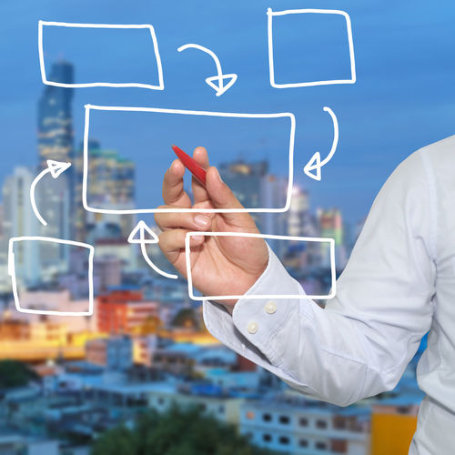 Digital Composite Image Of Businessman Making Flow Chart Against Cityscape